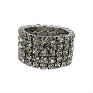 Stretch Ring - Silver/Crystal