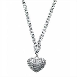 Pave Crystal Accented Heart Necklace
