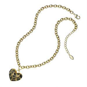 Leopard Print Heart Necklace - Goldtone